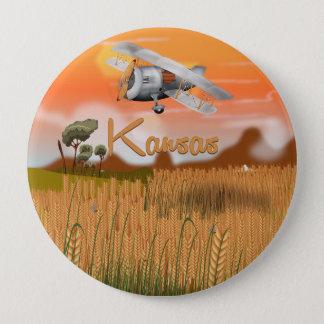 """Vintages Kansas-Weizenfeld Reise-Plakat"" ""Kansas Runder Button 10,2 Cm"