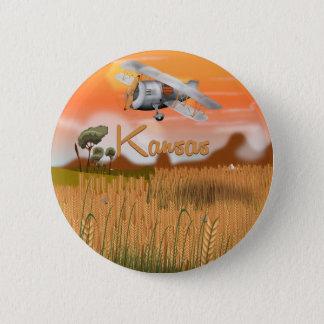 Vintages Kansas-Weizenfeld Reise-Plakat Runder Button 5,7 Cm