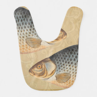 Vintages Karpfen-Frischwasserfisch-Zeichnen Babylätzchen