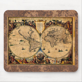 Vintages Karten-Nova totius terrarum 1625 Mauspad