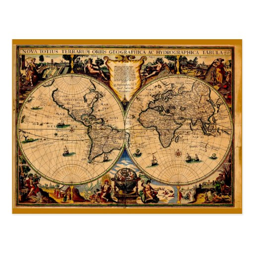 Vintages Karten-Nova totius terrarum 1625 Postkarte