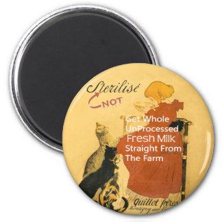 Vintages Kätzchen-Milch-Plakat Runder Magnet 5,1 Cm