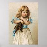 Vintages Kätzchen und Mädchen Plakatdrucke