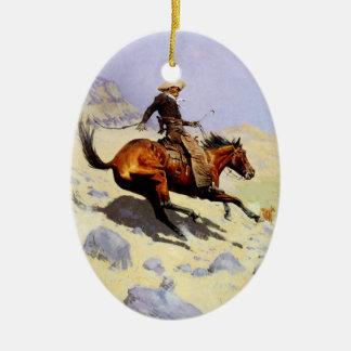 Vintages Kavallerie-Militär, der Cowboy durch Keramik Ornament
