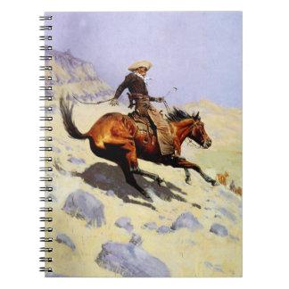 Vintages Kavallerie-Militär, der Cowboy durch Spiral Notizblock