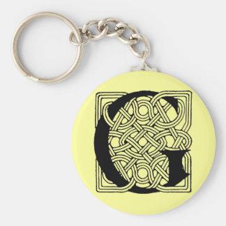Vintages keltisches Knoten-Monogramm Buchstabeg Schlüsselanhänger
