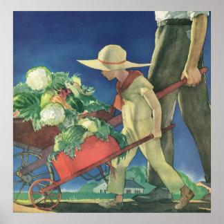 Vintages Kind, Bio Gartenarbeit; Sieg-Garten Poster