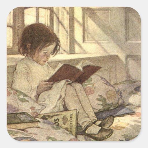 Vintages Kind, das ein Buch, Jessie Willcox Smith  Sticker