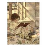 Vintages Kind, das ein Buch, Jessie Willcox Smith Postkarten