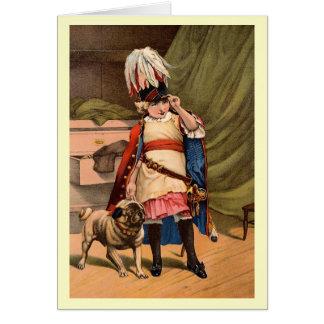 Vintages Kind im Kostüm mit Mops Karte