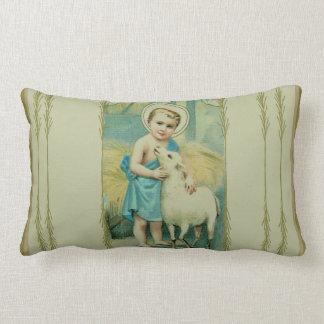 Vintages Kind Jesus mit Lamm Lendenkissen