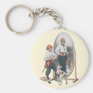 Vintages Kind, Jungen-Pirat, Hund, Spiegel, Schlüsselanhänger