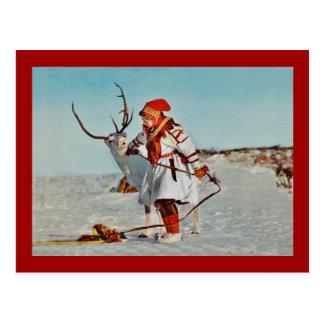 Vintages Kind mit Ren Postkarte