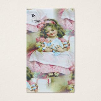Vintages Kind und Puppe - Geschenk-Umbau Visitenkarte