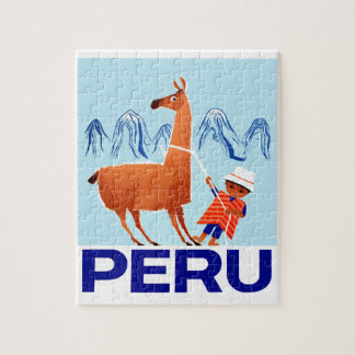 Vintages Kinder-und Lama-Peru-Reise-Plakat Puzzle