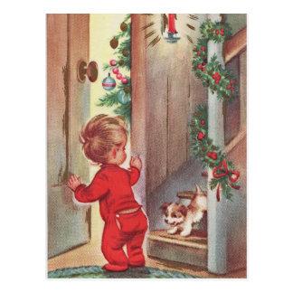 Vintages Kinder-und Welpen-Weihnachten Themed Postkarten