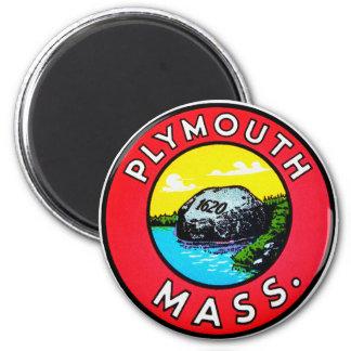 Vintages Kitsch-Abziehbild-Plymouth-Mass. Runder Magnet 5,1 Cm