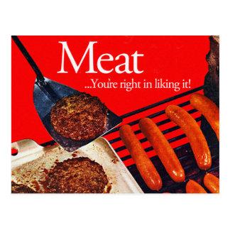 Vintages Kitsch-Hamburger-Fleisch haben Sie Recht Postkarte