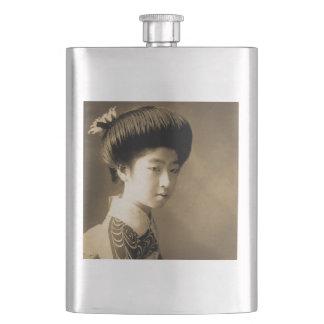 Vintages klassisches japanisches SchönheitGeisha Flachmann