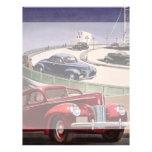 Vintages klassisches Sedan-Auto-Fahren auf die Aut Flyerbedruckung