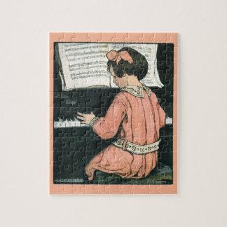 Vintages Klavier-Musik-Mädchen durch Jessie Puzzle