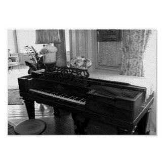 Vintages Klavier-schwarze u. weiße Fotografie Poster