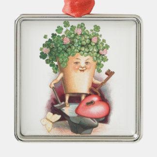 Vintages Kleeblatt-Herz und Schlüsselst patrick Silbernes Ornament
