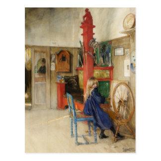 Vintages kleines Mädchen an spinnendem Rad Postkarte