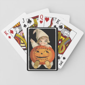 Vintages kleines Mädchen mit großem Spielkarte