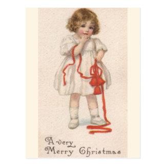Vintages kleines Mädchen mit Weihnachtsband Postkarte