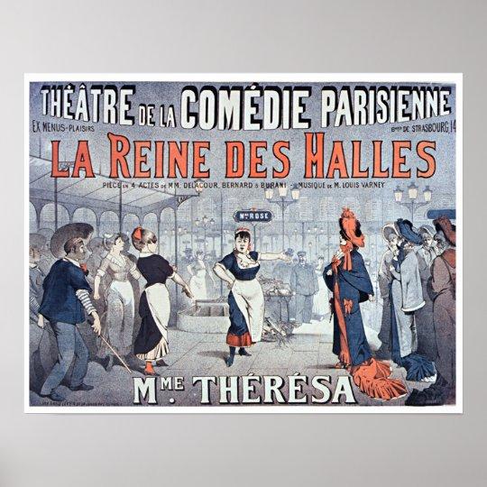 Vintages Komödien-Theater La Reine DES Halles Poster