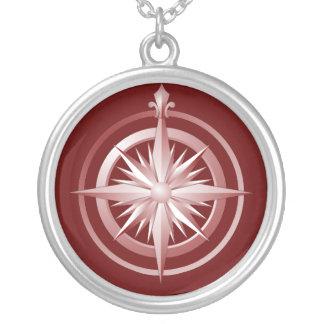 Vintages Kompass-Sterlingsilber-Halsketten-Rot Halskette Mit Rundem Anhänger