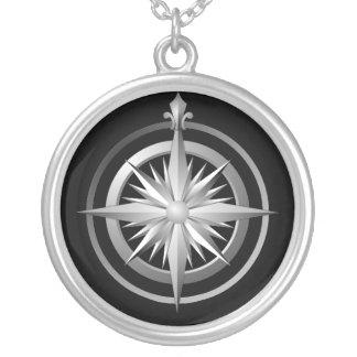 Vintages Kompass-Sterlingsilber-Halsketten-Schwarz Halskette Mit Rundem Anhänger