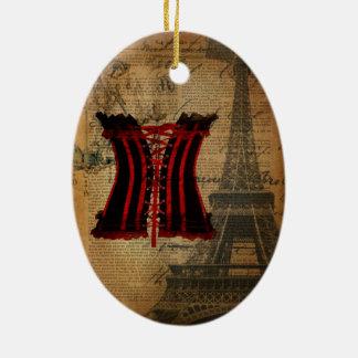 Vintages Korsett Paris-Junggeselinnen-Abschieds Ovales Keramik Ornament
