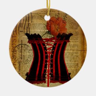 Vintages Korsett Paris-Junggeselinnen-Abschieds Rundes Keramik Ornament