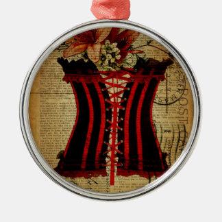 Vintages Korsett Paris-Junggeselinnen-Abschieds Rundes Silberfarbenes Ornament