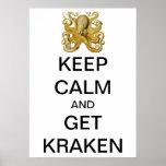 Vintages Kraken, Krake Gamochonia, Ernst Haeckel Poster