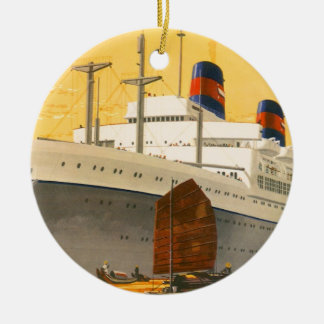 Vintages Kreuzfahrt-Schiff zum Orient mit Keramik Ornament