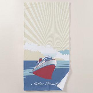Vintages Kreuzfahrtschiff mit individuellem Namen Strandtuch