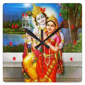 VINTAGES Krishna Indien Kanada Quadratische Wanduhr