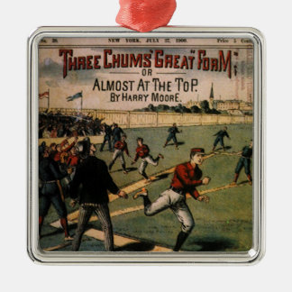 Vintages Kumpel-Titelseitedes Sport-Baseball-drei Quadratisches Silberfarbenes Ornament