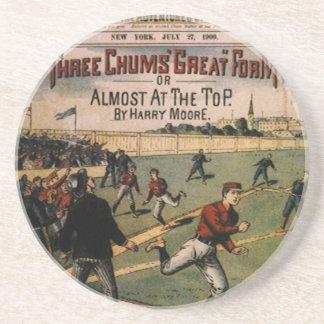 Vintages Kumpel-Titelseitedes Sport-Baseball-drei Sandstein Untersetzer