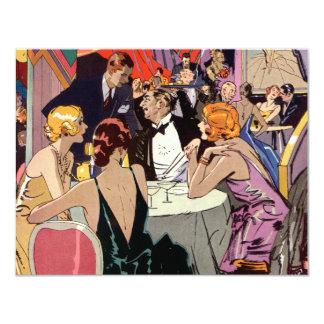 Vintages Kunst-Deko-Cocktail-Party am Nachtklub 10,8 X 14 Cm Einladungskarte