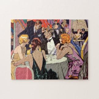 Vintages Kunst-Deko-Cocktail-Party am Nachtklub Puzzle