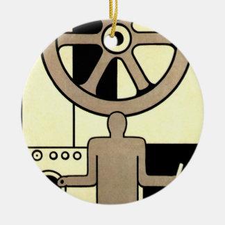 Vintages Kunst-Deko-Geschäfts-Rad und Keramik Ornament