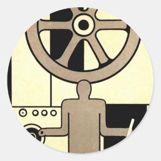 Vintages Kunst-Deko-Geschäfts-Rad und Runder Aufkleber