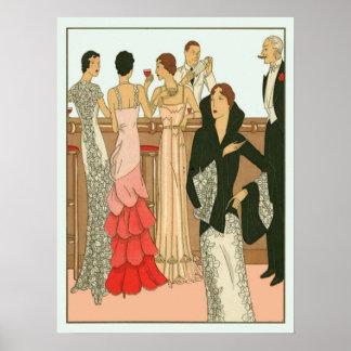 Vintages Kunst-Deko-Martini-Party Posterdruck