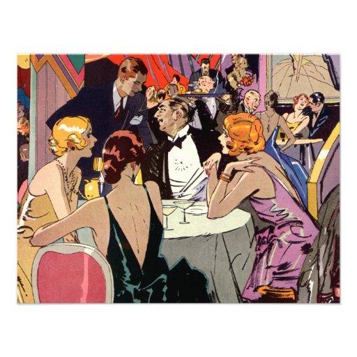 Vintages Kunst-Deko-Nachtklub-Cocktail-Party Personalisierte Einladungen
