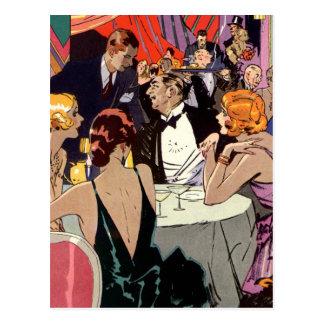 Vintages Kunst-Deko-Nachtklub-Cocktail-Party Postkarten