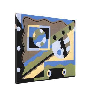 Vintages Kunst-Deko Pochoir Jazz-Kubismus-Muster Leinwanddruck